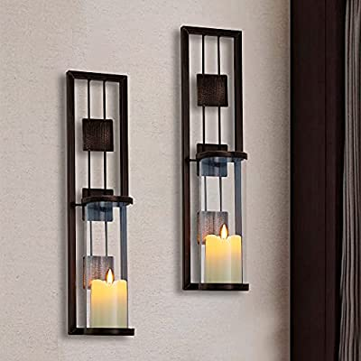 Shelving Solution Wall Sconce Candle Holder Metal Wall Decorations for Living Room, Bathroom, Dining Room, Set of 2