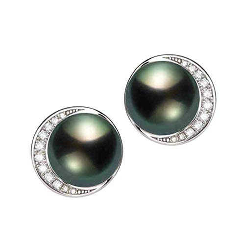 AMDXD Pendientes de oro blanco de 18 quilates para mujer, 10 mm de perlas de tahitiana luna pendientes de boda para novias, regalos de cumpleaños para novia, esposa, madre con caja de regalo