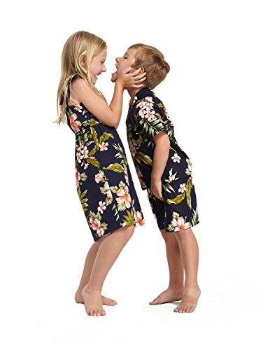Hermanos del niño y niña emparejados Hawaiian Luau Trajes en Azul Marino con Rosa Floral Niña 2 Niños 6