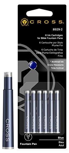 Cross 8929-2 - Paquete de 6 recambios para bolígrafos y plumas, azul