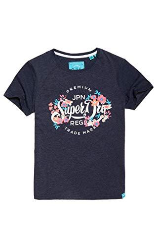 Superdry Premium Script Floral Entry Te, T-Shirt Donna, Blu (Rinse Navy Marl M2k), Small (Taglia Produttore:10)