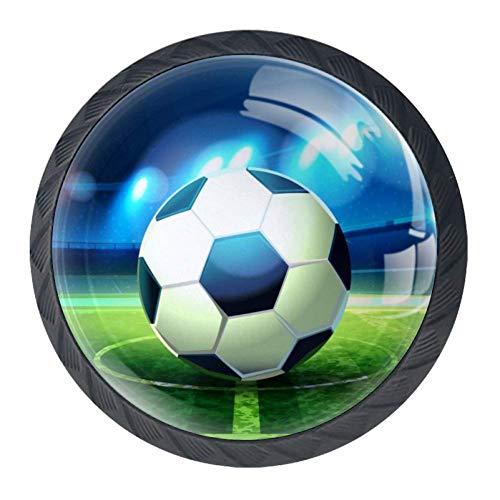 Fussball [4 Stuck] Küchenknöpfe - Türknopf Knauf für Schrank, Schubladenknopf, Türknäufe, Möbelknopf