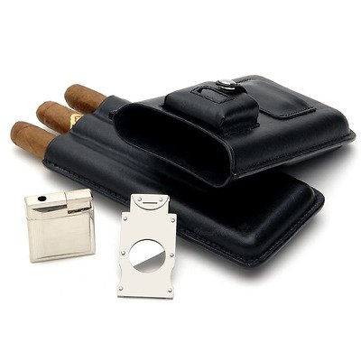 Mantello Portable 3 Holder Cigar Case Set With Lighter and Cutter Great Gift Kit