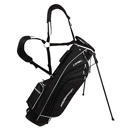 """PROSiMMON Golf DRK 7"""" Lightweight Golf Stand Bag with Dual Straps Black/White"""
