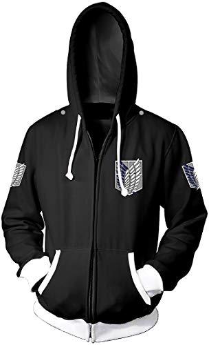 EMLAI Herren Reißverschluss Jacke Inspiriert von Attack On Titan 3D Uniform Cosplay Kostüm Jacket mit Kapuze(Schwarz Weiß,S)