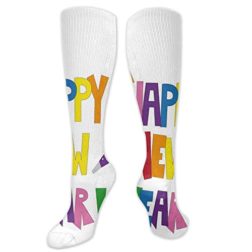 FULIYA odd socks,Bubbly Square Font Illustration With Party Items Hats And Festive Elements,Socks Women and Men - Best for Running,Athletic,Hiking,Travel,Flight