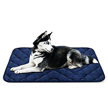 Dog Bed Mat Washable - Soft Fleece Crate Pad - Anti-slip Matress for Small Medium Large Pets (Blue L) by HeroDog