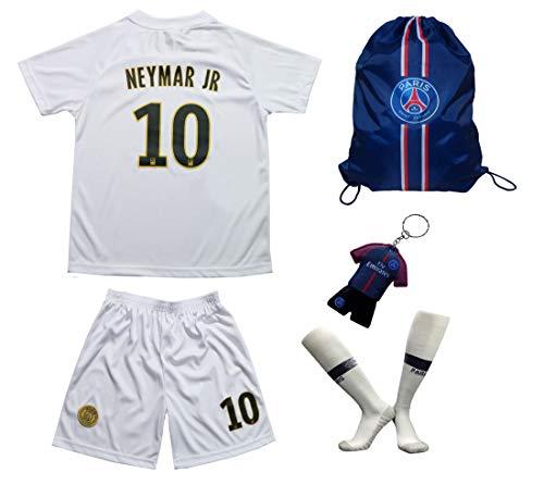 Paris Neymar Trikot Set #10 Auswärts 2018/19 Kinder Fussball Trikot Mit Shorts und Socken Kinder (7-8 Jahre)