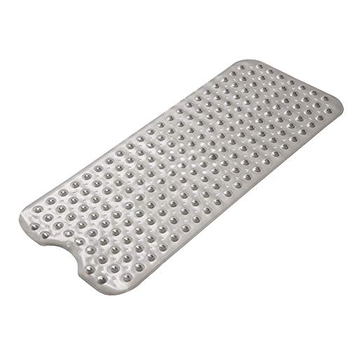 AmazerBath Bath Tub Mat, Extra Long 39 x 16 Inches Non-Slip Shower Mats with Suction Cups and Drain Holes, Bathtub Mats Bathroom Mats Machine Washable (Clear Gray)