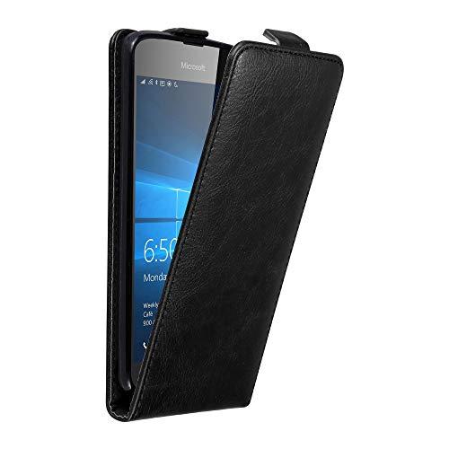 Cadorabo Hülle für Nokia Lumia 650 in Nacht SCHWARZ - Handyhülle im Flip Design mit unsichtbarem Magnetverschluss - Hülle Cover Schutzhülle Etui Tasche Book Klapp Style
