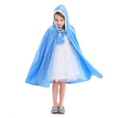 Luzlen Girls Princess Cloak Hooded Cape Full Length Costume Party Cosplay Dress Up 3-12 Years Blue