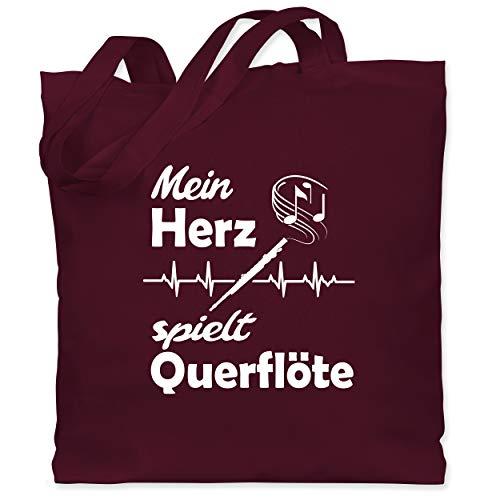 Shirtracer Instrumente - Mein Herz spielt Querflöte Herzschlag - Unisize - Bordeauxrot - stoffbeutel querflöte - WM101 - Stoffbeutel aus Baumwolle Jutebeutel lange Henkel
