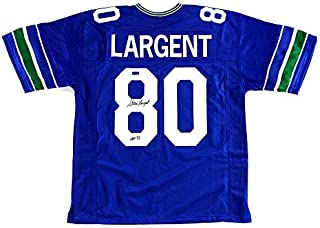 Steve Largent Autographed/Signed Seattle Throwback Blue Custom Jersey with