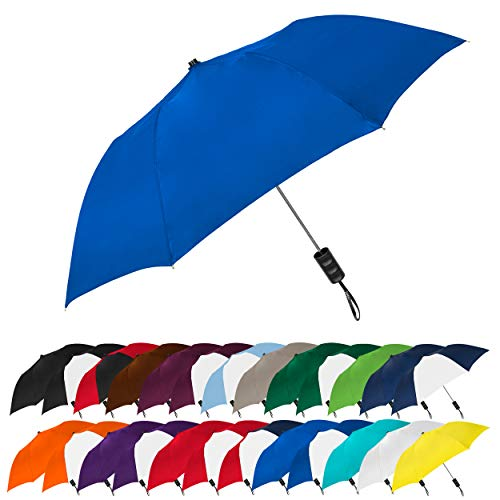 "STROMBERGBRAND UMBRELLAS Spectrum Popular Style 15"" Automatic Open Umbrella Light Weight Travel Folding Umbrella for Men and Women, (Royal Blue)"