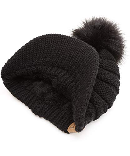 MIRMARU Women's Soft Warm Ribbed Knit Visor Brim Pom Pom Beanie Hat with Plush Lining