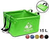 Outdoor Faltschüssel 15 Liter Waschschüssel (02 Grün)