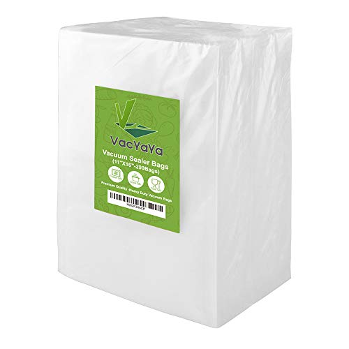 VacYaYa 200 Gallon Size 11 x 16 Inch Vacuum Sealer Freezer Storage Machine Bags for Food Saver,Vac Seal a Meal Bags with BPA Free and Heavy Duty Sous Vide Vaccume Seal Safe PreCut Bag