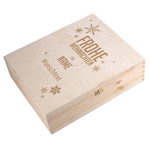 Herz & Heim® Flaschenverpackung zu Weihnachten für 3 Weinflaschen mit Gravur des Namens und Wunschtext