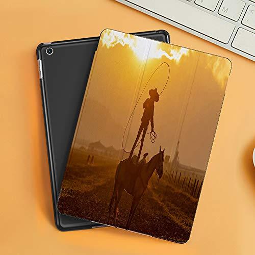 Funda iPad 10.2 Inch 2018/2019,Un Joven Charro Mexicano reúne una Manada de Caballos Corriendo por un Campo en un Rancho Mexicano al Amanecer,Cubierta Trasera Delgada Smart Auto Wake/Sleep
