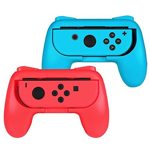 Fintie Grip für Nintendo Switch Joy-Con - [2er-Pack] [Ergonomisches Design] Verschleißfeste Komfort Griff Kit Griffhalter für Nintendo Switch Konsole Joy-Con Controller, Rot/Blau