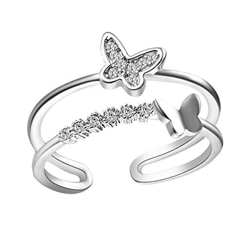 Holibanna Anillo de Dedo de Mariposa Anillos de Dedo Ajustables de Plata Esterlina Anillos de Doble Banda de Diamantes de Imitación Anillo de Doble Cruz para Mujer (Plata)