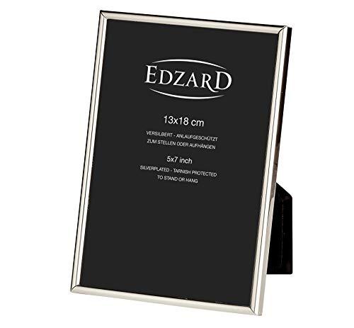 EDZARD Fotorahmen Bilderrahmen Genua für Foto 13 x 18 cm, edel versilbert, anlaufgeschützt, 2 Aufhänger
