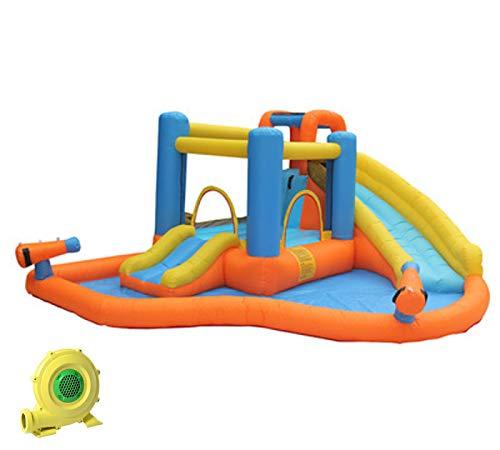 WANGZI Tobogán acuático inflable para niños, saltando casa de rebote con chapoteo piscina cañón de agua, centro de juego inflable para verano al aire libre jardín