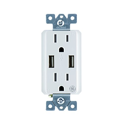 GE UltraPro Tamper Resistant 20W Dual USB Receptacle, For iPhone 11 Max/XS/XR/X/8, iPad Pro, Samsung Galaxy, Google Pixel, White, Wallplate not included, 37516, 1 Pack