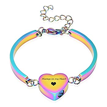 Alway in My Heart Cremation Bracelet for Ashes Cremation Jewelry Heart Shape Bracelet  Colorful