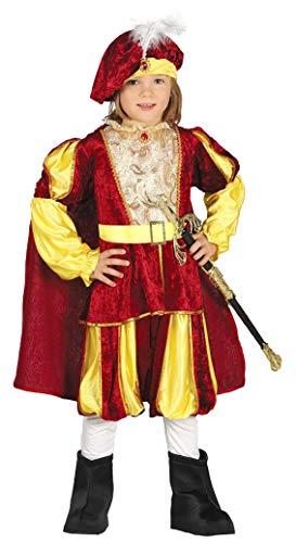 Guirca- Costume Re Bambino 5/6 Anni, Colore Giallo e Rosso, 5-6 (110-115 cm), 87558
