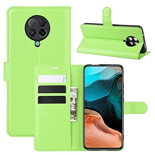 Liluyao Funda telefónica para Xiaomi For Xiaomi redmi K30 Pro Litchi Textura Horizontal del Caso del tirón Protector con el sostenedor y Ranuras for Tarjetas y Monedero (Color : Green)