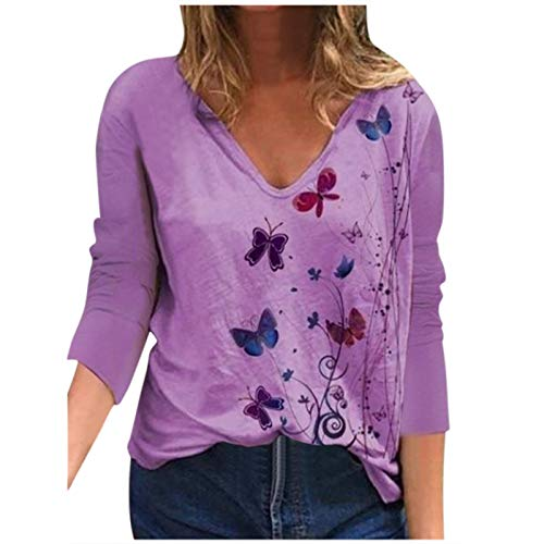 YANFANG Blusa para Mujer Holgada con Estampado de Mariposas de Moda de Verano con Cuello en V Profundo Talla Grande de Manga Corta Casual Adolescente Camiseta (M, Purple0213)