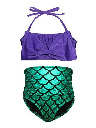 AmzBarley Mädchen Meerjungfrau Schwanz Badeanzuge Kinder Bademode Prinzessin Ariel Schwimmen Badeanzüge Sommer Strand Bikini Cosplay Bademode Kostüm