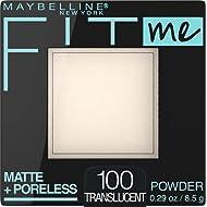 Maybelline New York Fit Me Matte + Poreless Powder Makeup, Translucent, 0.29 Ounce, Pack of 1 (100 Translucent)