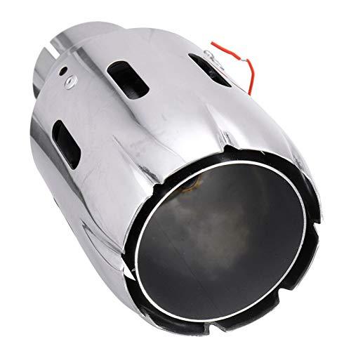 """ZHANGCHANGZHI Autoauspuff. 2,5""""63mm in 101mm Out Auto Edelstahl Auspuff-Schalldämpfer-Spitzenrohrauto-hintere Heckschachtel-Liner mit LED-Licht (Color : Blue Light)"""
