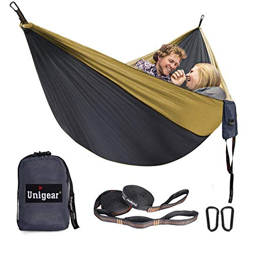 Unigear Hammock, Single & Double Camping Hammock, Portable Lightweight Parachute Nylon Hammock with Tree Straps for Backpacking, Camping, Travel, Beach, Garden (Gray/Khaki)