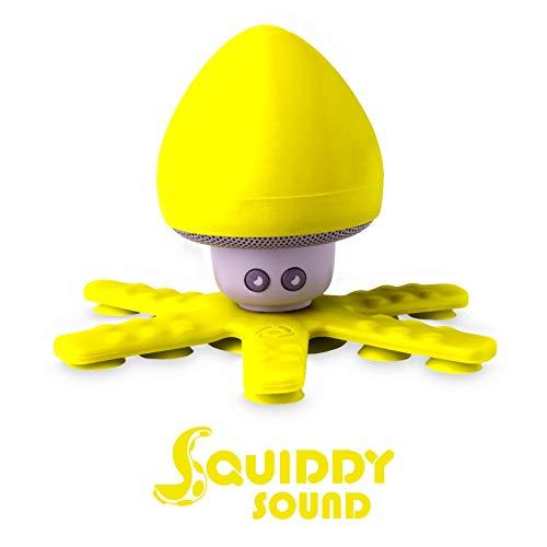 Altavoz Bluetooth Impermeable Celly Squiddy, Altavoz Inalámbrico Soporte con 6 Mini Tentáculos y Ventosas con Agarre Seguro para Ducha Piscina baño y más. Amarillo