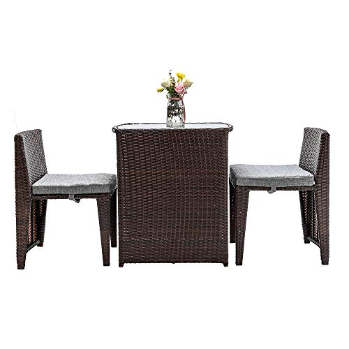 Yuehang Best Choice Patio Porch Furniture Sets 3 Pieces PE Rattan Wicker Chairs with Table Outdoor Garden Furniture Sets (Brown/Grey)
