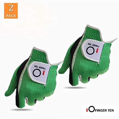 FINGER TEN Golfhandschuh Herren Linke Hand Rechte 2 Stück (Not Paar) Allwetter Mikrofaser Rain Grip Golf Handschuh Links Rechts Grau Schwarz Grün Weicher Komfort Passform Grün M/L Linken Hand