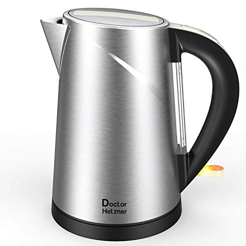 Electric Kettle, Doctor Hetzner Stainless Steel Water Kettle, 1500W Fast Boil, BPA-FREE Tea Kettle, Auto Shutoff, Boil-Dry Protection with British Otter Thermostat