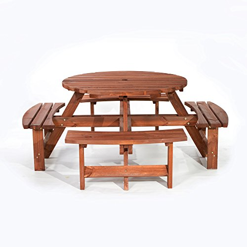 BrackenStyle York Picnic Table – Durable Heavy Duty Round Pub Table –Suitable for 8 People 1.8M Diameter (Brown)