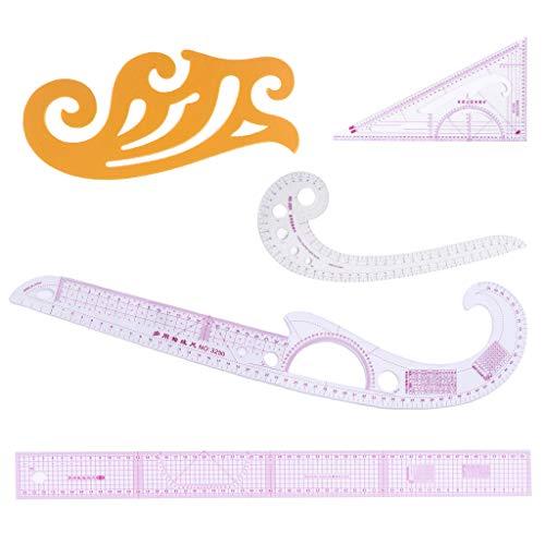 5 st skräddare fransk kurva linjal mått sömnad klädtillverkning yardstick ritning mall kläder lappverk verktyg - används ofta i teckning, skärning, tallrik och annan kläddesign