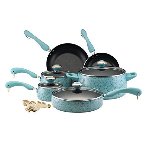 Paula Deen Signature Nonstick Cookware Pots and Pans Set, 15 Piece, Aqua Speckle