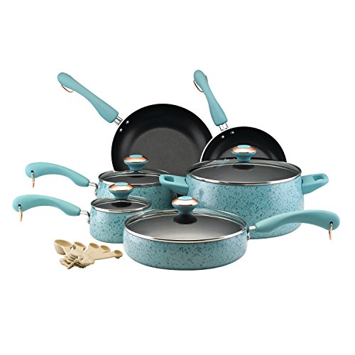 Paula Deen 12513 Signature Nonstick Cookware Pots and Pans Set, 15 Piece, Aqua Speckle