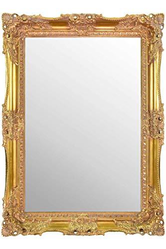 Espejo de Pared Grande Dorado Muy ornamentado con diseño Antiguo (94 cm x 68 cm)