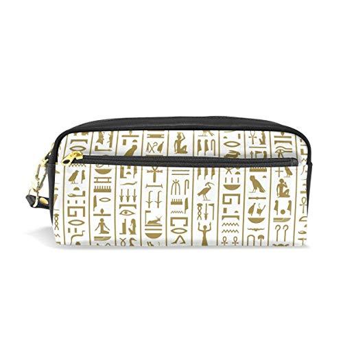 Estuche para lápices de cuero PU portátil con jeroglíficos egipcios antiguos, bolsas para bolígrafos escolares, estuche para cosméticos, estuche de gran capacidad para maquillaje