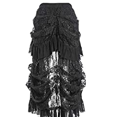 COSWE Women's Black Lace Punk Irregular Dress Steampunk Skirt Cosplay Costume (3XL) #2