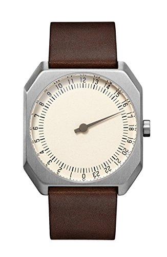 slow Jo 17 - Swiss Made one-hand 24 hour watch - Silver with dark brown leather band