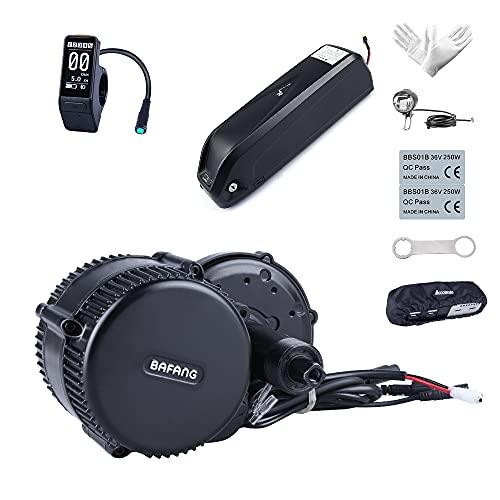 Bafang 48V 350W Kit Motore Mid Drive Motorizzato Senza Spazzole Kit Motore Mid Bike Kit di Conversione Bici Elettrica BBS01B Kit, Batteria del Telaio Opzionale Batteria del Portapacchi Posteriore