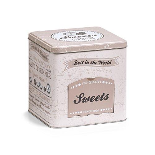 Zeller 19161 Süßigkeitendose mit Klappe Sweets, eckig, Metall, ca. 15 x 15 x 15,2 cm